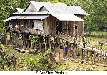Stilt houses in a small village near Kratie, Cambodia,...