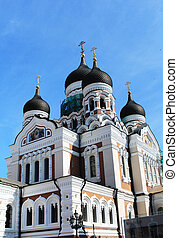 Alexander Nevsky Cathedral in Tallinn, a large number of...