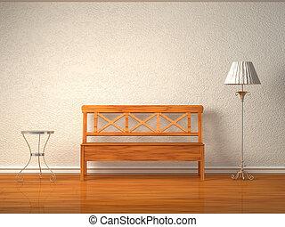 Drewniany, ława, stół