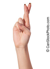 cruzado, dedos, symbolizing, bueno, suerte, aislado, blanco
