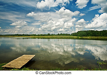 lake - wood dais on beauti lake
