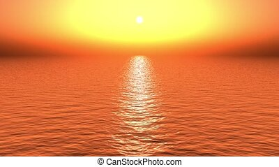 golden sun light reflecting on ocean at...