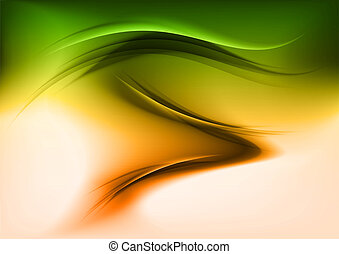 Abstract shape in the geen and orange colors