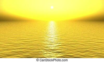 golden sun light reflecting on sea