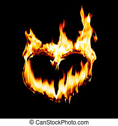 heart -  heart shape in fire flame