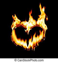 heart -  heart shape in fire flame