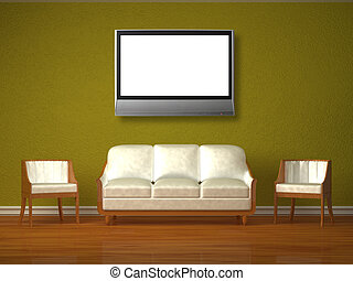 White couch and two chairs with tv