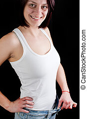 woman weight loss - attractive caucasian woman with big...