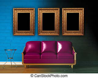 Purple couch, table, LCD tv  and standard lamp in  double colored minimalist interior