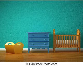 bebé, dormitorio, pesebre