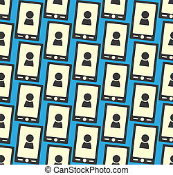 Seamless pattern with smartphone icon and people silhouette