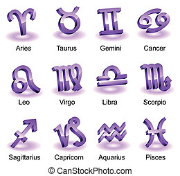 Horoscope zodiac star signs Violet shiny icons