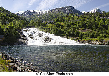 Norway - Waterfall In Hellesylt - Europe Travel Destination