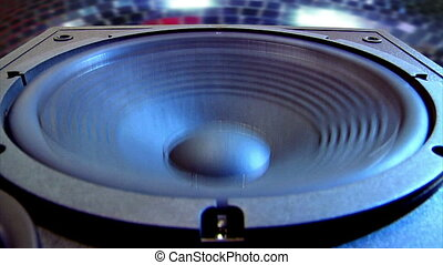 disco speaker close - Low angle Loudspeaker shot with a...