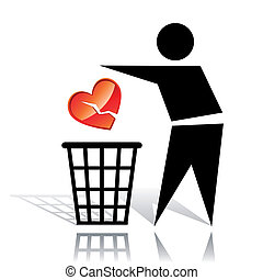 Recycling sign and broken heart - Conceptual icon with...