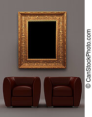 Two red armchairs with place on the wall for yours text