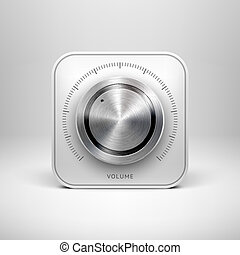 Technology Icon with Metal Textured Knob - Abstract...