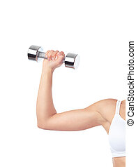 Arm of woman exercising with weight