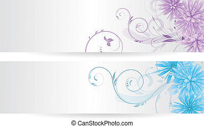 Banners with abstract flowers - Banners with colorful...