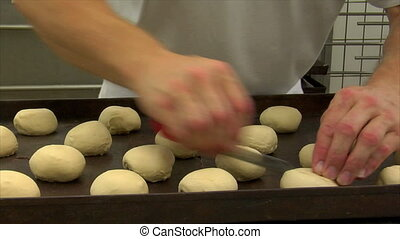 baker roll dough cut into dolly