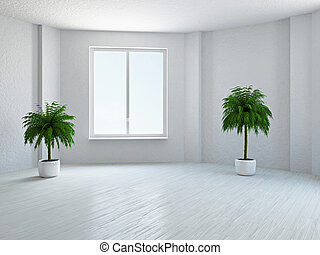 Empty room with window - The empty room with plant and...