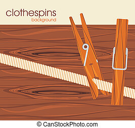 Clothespins. Background - Clothespins on the wooden...