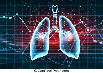 Schematic illustration of human lungs with the different...