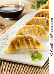 Homemade Asian Vegeterian Potstickers with soy sauce and...