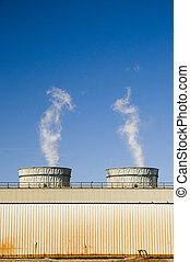 Two Smoke Stacks - Energy plant smoke stacks