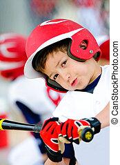 Little league baseball batter up-close - Little league...