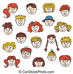Children faces - Set of smiley children faces Doodle style...
