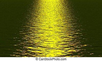 golden light reflecting on ocean.