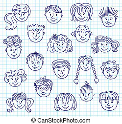 Children doodle faces - Set of smiley children faces. Doodle...