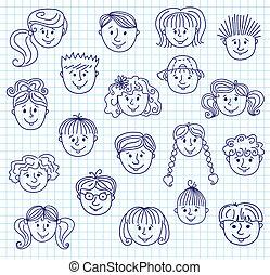 Children doodle faces - Set of smiley children faces. Doodle...