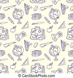 Scribble in a writing-books seamless pattern. - Seamless...