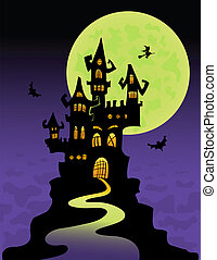 The scary castle at mountain top. Halloween vector...