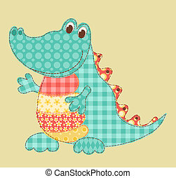 Crocodile - Childrens application Crocodile Patchwork series...