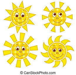Patchwork suns - Set of patchwork happy suns Vector cartoon...