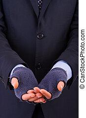 Businessman begging for money.