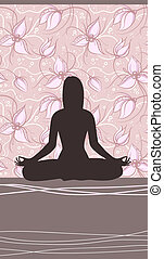 Yoga Card with Meditating Woman and Floral Backgrount