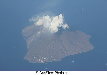 Stromboli Volcano Island in Italy from airplane