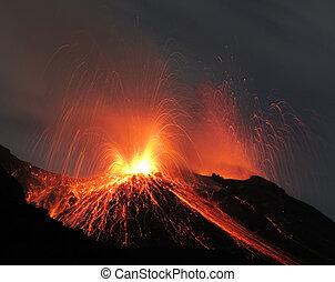 Strombolian volcano eruption - Strombolian eruption at...