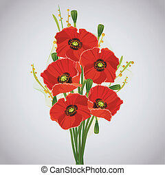 Beautiful celebratory bouquet of red poppies for greeting or...