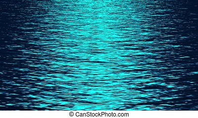 blue light reflecting on ocean at night
