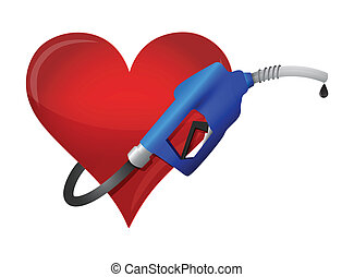 heart with a gas pump nozzle illustration design over a...
