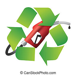 recycle symbol with a gas pump nozzle illustration design...