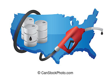 US map with a gas pump nozzle illustration design over a...
