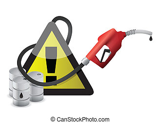 exclamation warning sign with a gas pump nozzle