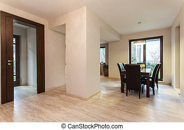 Travertine house: dining room
