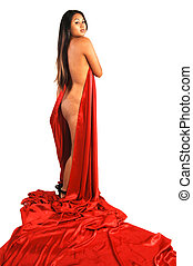 Half naked Asian woman - An nude Asian girl with red silk...